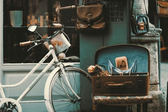 vintage bicycle and suitcase