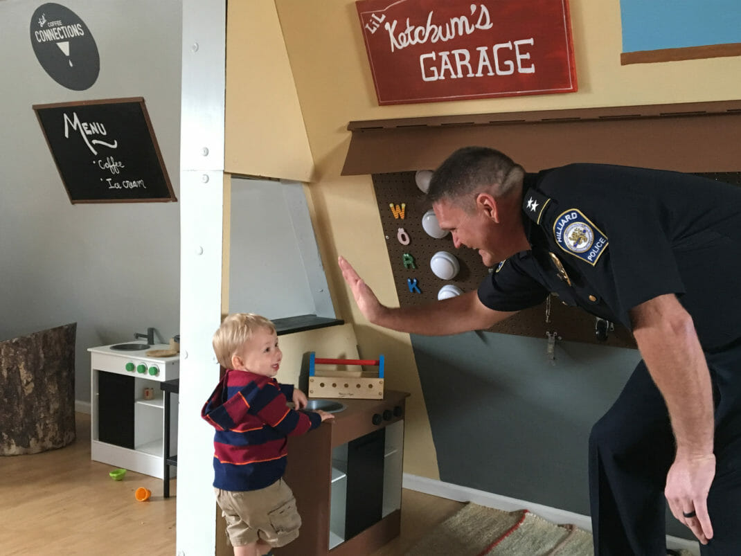 Officer with toddler