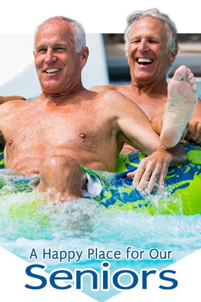 Older gentlemen on pool tube