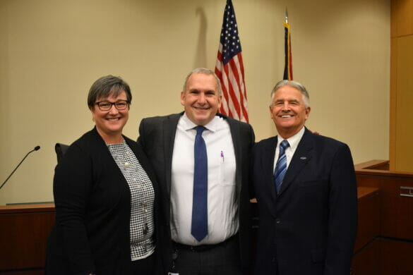 Director Ball and his wife posing with Mayor Schonhardt