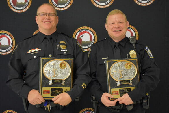 Officers Gano and O'Connor with awards