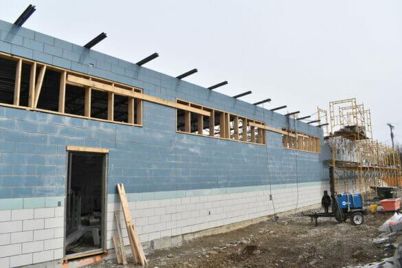 East pool bathhouse construction