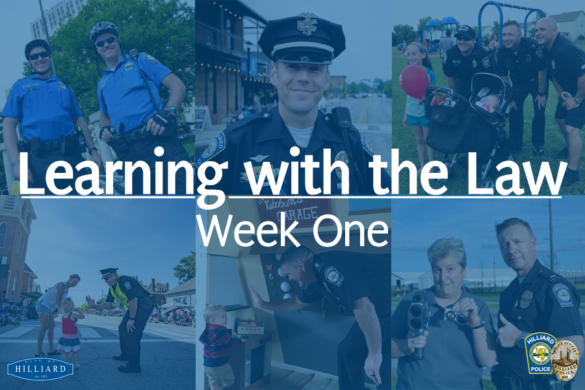 Banner for learning with the law with a compilation of cop photos