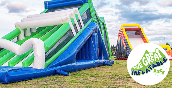 inflatable slides blown up in field