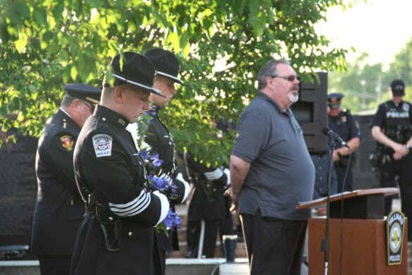 Officers at memorial for police