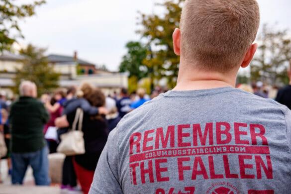 Man wearing Remember the Fallen shirt