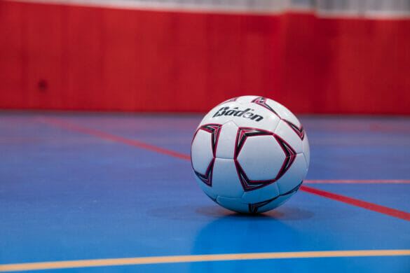 close up of a volleyball on a court