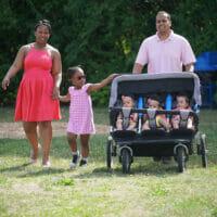 A family walking through the park