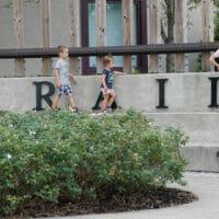 Kids standing on steps