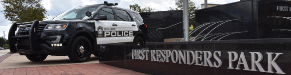 First responders park header with police car