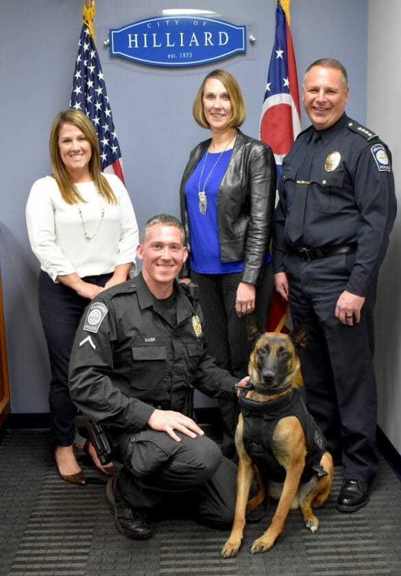 K9 officer Jawaak accepting new vest
