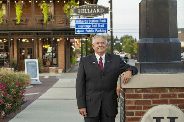 Mayor Don Schonhardt standing in front of Otie's Tavern