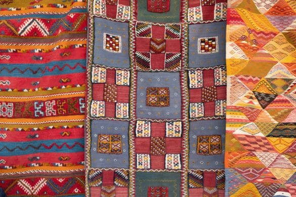 Brightly colored quilts