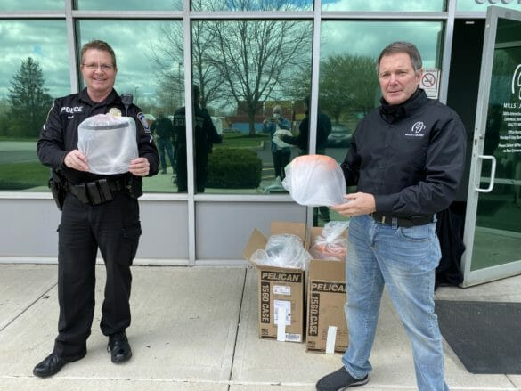 Mills James owner donating personal protective equipment (PPE) to Hilliard Division of Police
