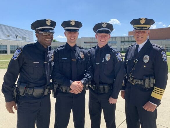 From left, Officer Marqel Watkins, Officer Luke White, Officer Jack Steiner and Chief Robert Fisher