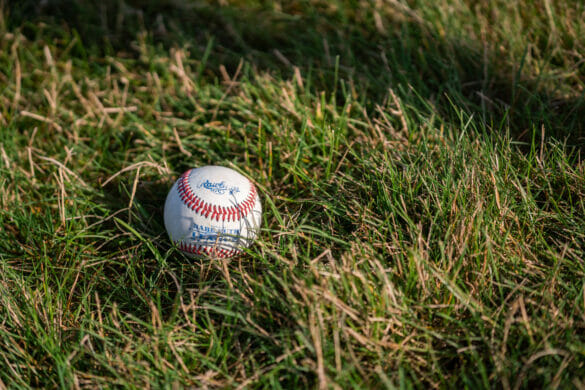 A baseball laying in a field of grass