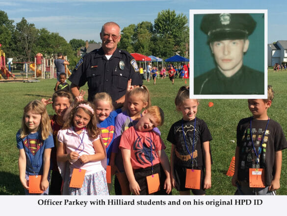 Officer Parkey with Hilliard students