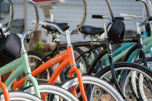 A row of colorful bikes