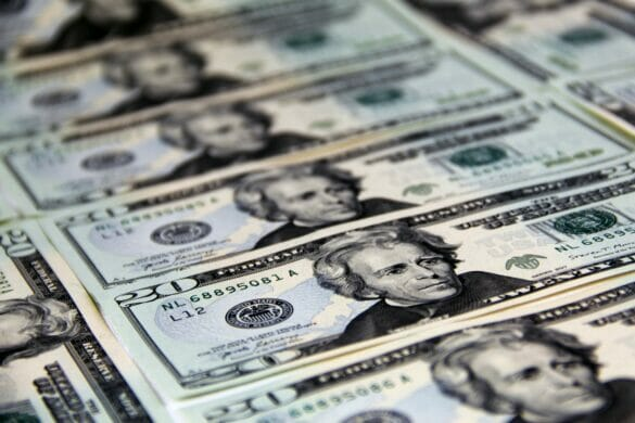 Rows of $20 bills