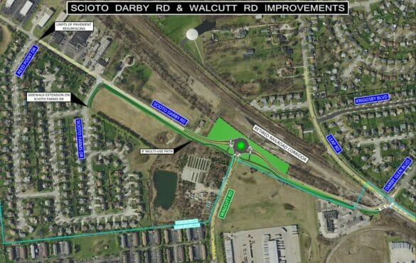 Map of Scioto Darby Rd and Walcutt Rd improvements