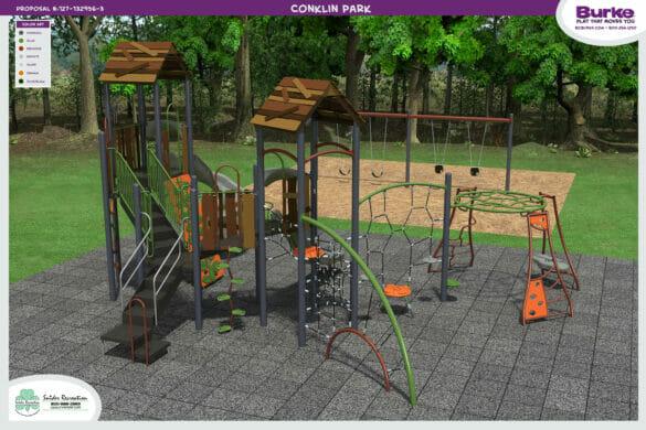 3D rendering of Cinklin Park playground