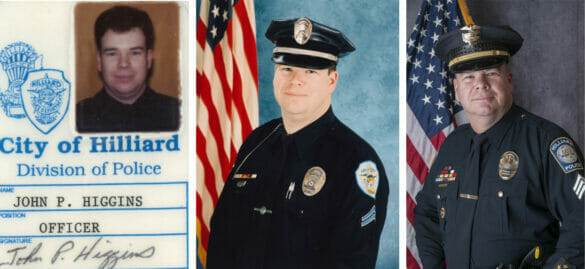 A series of photos of Officer Higgins, from when he first started, to mid career, and his final portrait.