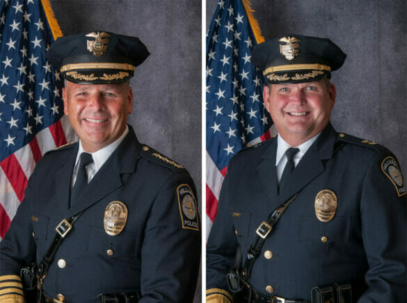 side by side portraits of former Chief of Police Fisher and the new Chief of Police Grile