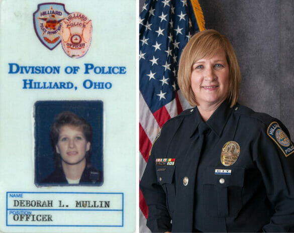 Side by side of Officer Mullin's ID and portrait