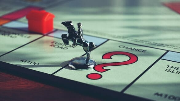 Monopoly piece on board game
