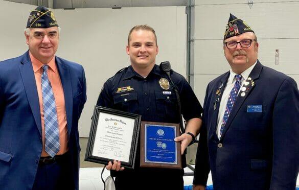 Officer Howard receiving the Legion