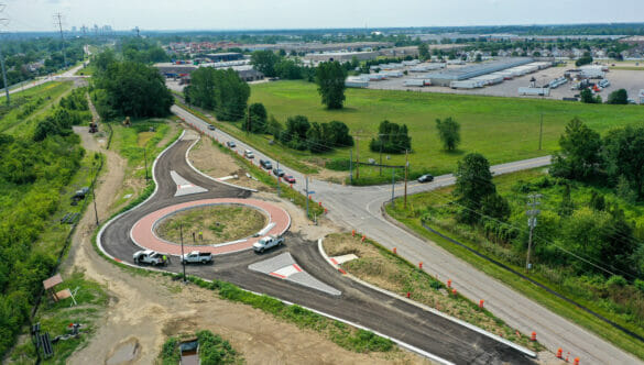 A partially constructed roundabout
