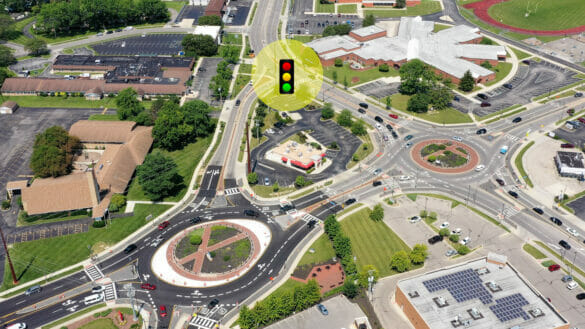 Map of Scioto Darby and Cemetery roundabouts with new light signal