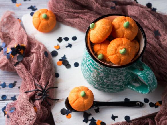 Pumpkin halloween marshmallows in hot chocolate