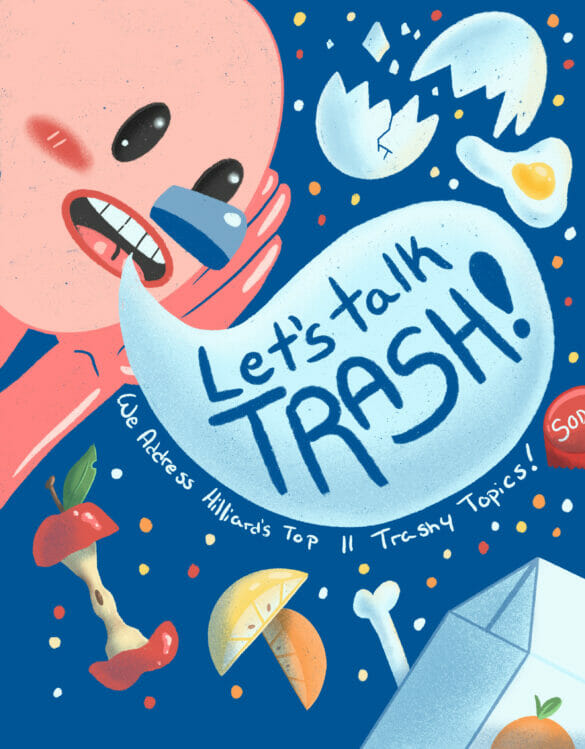 Illustration of someone shouting 'let's talk about trash', surrounded by various trash