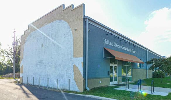 Mural in progres at Hilliard Civic & Cultural Arts Center